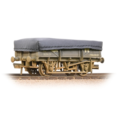 bachmann-33088a-5-plank-china-clay-wagon-gwr-grey-with-tarpaulin-cover-weathered-00-gauge