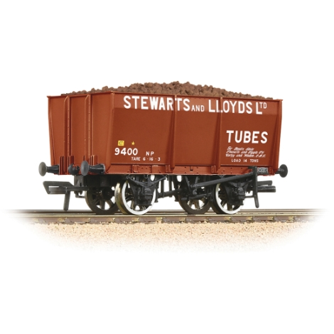 bachmann-37402-16t-steel-slopesided-mineral-wagon-stewart-lloyds-red-includes-wagon-load-00-gauge