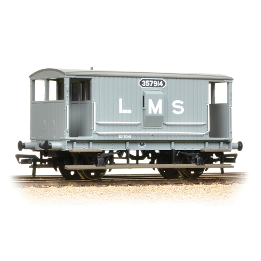 bachmann-38552a-midland-20t-brake-van-lms-grey-with-duckets-oo-gauge