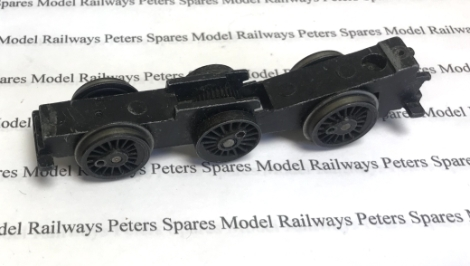 hornby-x5482-used-060-chassis-block-with-black-rimmed-wheels-axles-worm-wheel-plastic