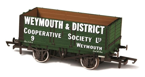 oxford-rail-or76mw7004b-7-plank-mineral-wagon-weymouth-district-coop-no-9-oo-gauge
