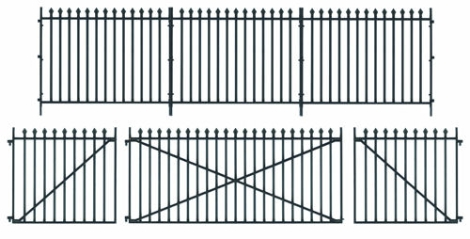 peco-lk741-gwr-spear-fencing-straight-panels-gates-posts-o-gauge