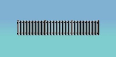 ratio-422-gwr-station-fencing-black-straight-only-680mm-oo-gauge