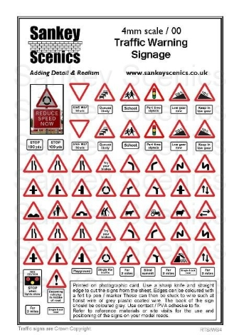 sankey-scenics-rtsws4-traffic-warning-signage-4mm-oo-gauge