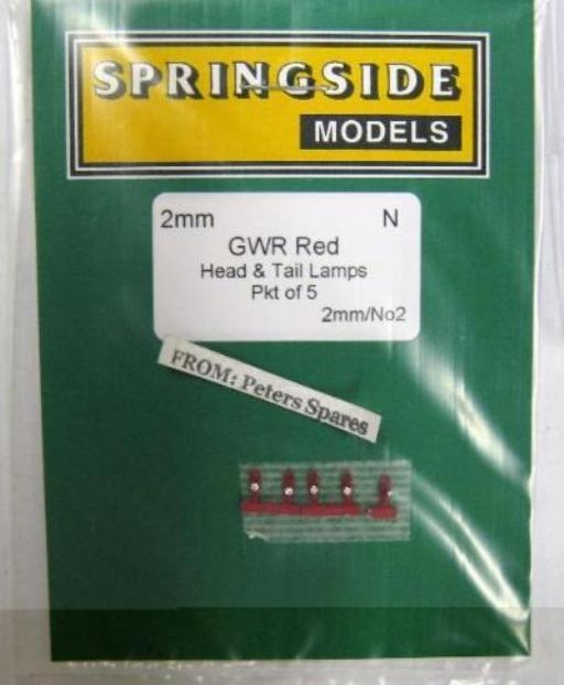 Springside DA2 00 Scale GWR Red Head And Tail Lamps